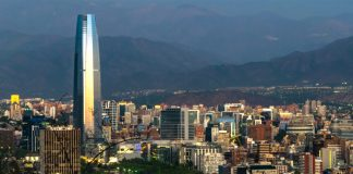 Sunset Skyline in Santiago de Chile with Gran Torre