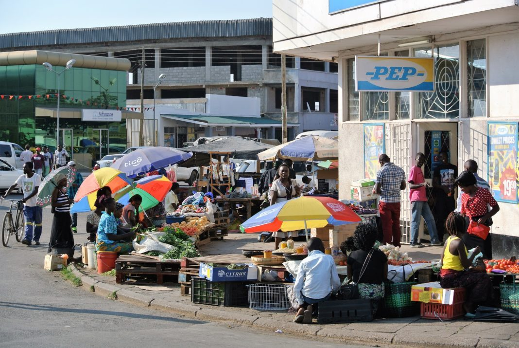 Informal trading market on the sidewalk