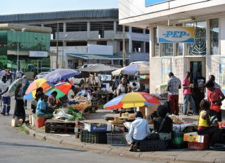 Informal trading market on the sidewalk