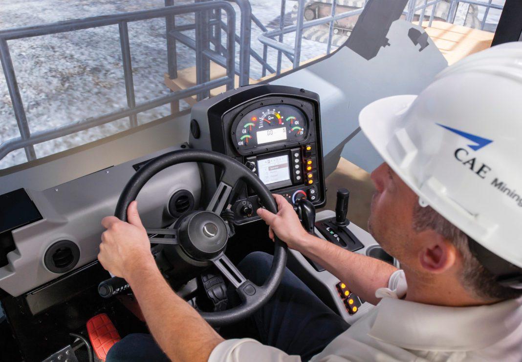 man driving truck on mine