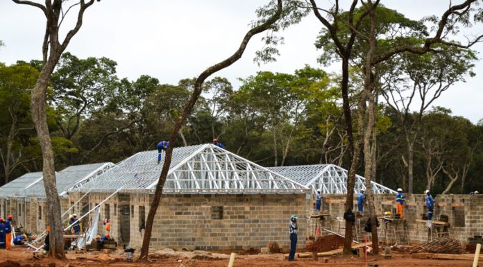 Houses being built in Zambia
