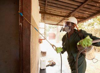 man spraying to combat malaria