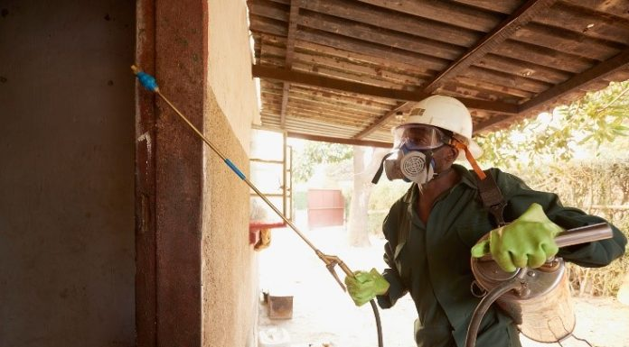 man spraying to combat malaria