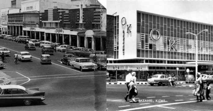 A old picture of the OK Bazaars in Kitwe