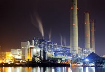 power station at night with smoke, hong kong