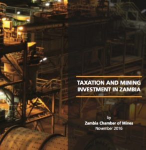 Taxation and Mining Investment Booklet Cover of November 2016