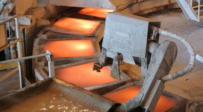 Copper being smelted